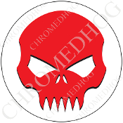 Premium Round Decal - Evil Skull - Red/ White