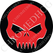 Premium Round Decal - Evil Skull - Red/ Black