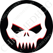 Premium Round Decal - Evil Skull - White/ Black