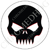 Premium Round Decal - Evil Skull - Black/ White