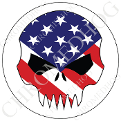 Premium Round Decal - Evil Skull - USA Flag/ White