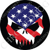 Premium Round Decal - Evil Skull - USA Flag/ Black