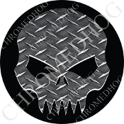 Premium Round Decal - Evil Skull - Diamond Plate/ Black
