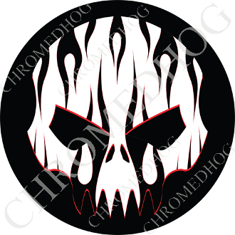 Premium Round Decal - Evil Skull - Black Flame - White/ Black