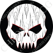 Premium Round Decal - Evil Skull - Black Pin Stripe Flame - W/B