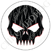 Premium Round Decal - Evil Skull - White Pin Stripe Flame - B/W