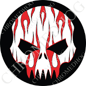 Premium Round Decal - Evil Skull - Red Flame - White/ Black