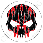Premium Round Decal - Evil Skull - Red Flame - Black/ White