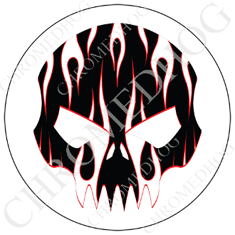 Premium Round Decal - Evil Skull - White Flame - Black/ White
