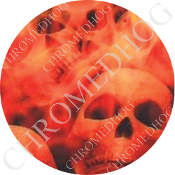 Premium Round Decal - Orange Fire Skull