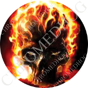 Premium Round Decal - Flaming Skull