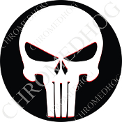 Premium Round Decal - Punisher Skull - White/ Black