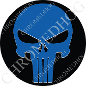 Premium Round Decal - Punisher Skull - Blue/ Black
