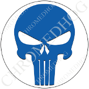 Premium Round Decal - Punisher Skull - Blue/ White