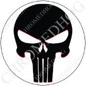 Premium Round Decal - Punisher Skull - Black/ White