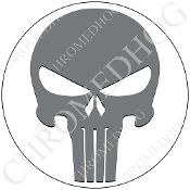 Premium Round Decal - Punisher Skull - Gray/ White