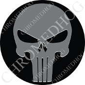 Premium Round Decal - Punisher Skull - Gray/ Black