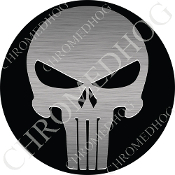 Premium Round Decal - Punisher Skull - Silver/ Black