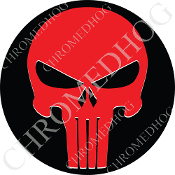 Premium Round Decal - Punisher Skull - Red/ Black