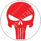 Premium Round Decal - Punisher Skull - Red/ White