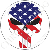 Premium Round Decal - Punisher Skull - USA Flag/ White