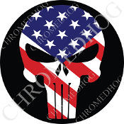 Premium Round Decal - Punisher Skull - USA Flag/ Black