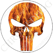 Premium Round Decal - Punisher Skull - Real Flame/ White