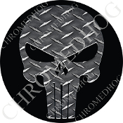 Premium Round Decal - Punisher Skull - Diamond Plate/ Black