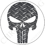 Premium Round Decal - Punisher Skull - Diamond Plate/ White