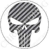 Premium Round Decal - Punisher Skull - Carbon Fiber/ White
