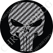 Premium Round Decal - Punisher Skull - Carbon Fiber/ Black