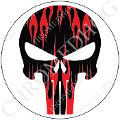 Premium Round Decal - Punisher Skull - Red Flame - Black/ White