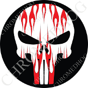 Premium Round Decal - Punisher Skull - Red Flame - White/ Black