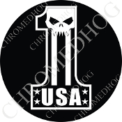 Premium Round Decal - Evil Skull - USA #1 - White/ Black