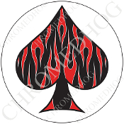 Premium Round Decal - Spade - Red Flame - Black/ White