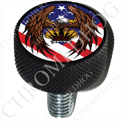 Harley Custom Seat Bolt - L KN Black Billet - Eagle - US Flag