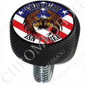 Harley Custom Seat Bolt - L KN Black Billet - Eagle - Flag FIF