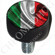 Harley Custom Seat Bolt - L KN Black Billet - Flag - Italy