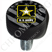 Harley Custom Seat Bolt - L KN Black Billet - Army Logo - G Flag