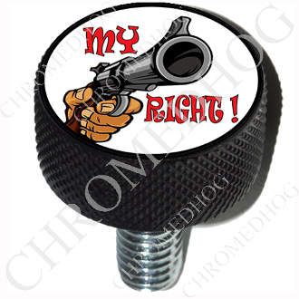 Harley Custom Seat Bolt - L KN Black Billet - Gun - My Right!