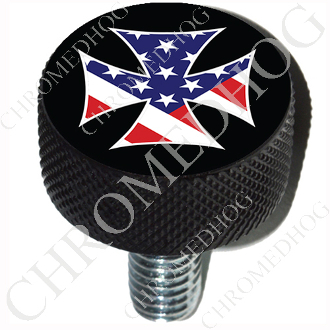 Harley Custom Seat Bolt - L KN Black Billet - Iron Cross - USA B