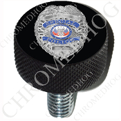Harley Custom Seat Bolt - L KN Black Billet - Police Badge - B1