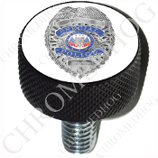 Harley Custom Seat Bolt - L KN Black Billet - Police Badge - W1