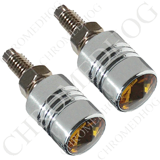 Chrome License Bolts w/ Amber Swarovski Crystals - Set of 2