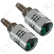 Chrome License Bolts w/ Green Swarovski Crystals - Set of 2