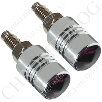 Chrome License Bolts w/ Purple Swarovski Crystals - Set of 2