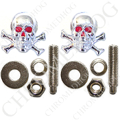 Skull & Bones License Frame Bolts - Chrome - Set of 2