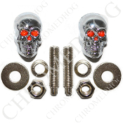 Chrome Skull w/ Red Eyes License Frame Bolts - Set of 2