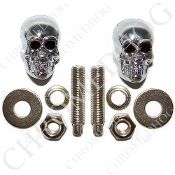 Chrome Skull w/ Black Eyes License Frame Bolts - Set of 2