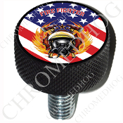 Harley Custom Seat Bolt - L KN Black Billet - Fire Fighter Flag